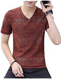 [Flapkash(フラップカッシュ)] vネック サマーセーター tシャツ 大人 カジュアル トップス インナー 半袖 メンズ