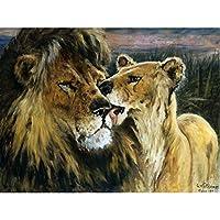 Gustav Wertheimer Lion Couple Nature Animal Painting Large XL Wall Art Canvas Print ライオン自然動物ペインティング壁