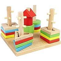 efaster教育玩具木製教育学習カラフルなfive-pole Preschool BuildingブロッククリエイティブDIYパズルToy 17*17*13CM WL-20180409
