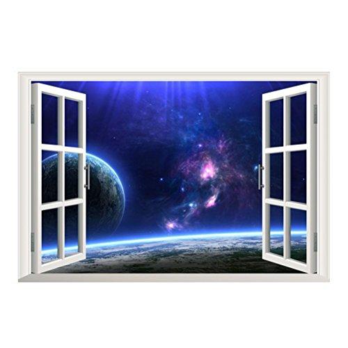 Zhide  3D 偽窓 宇宙 星空  剥がせる ウォールステッカー ウォールペーパー