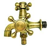 レトロ アンティーク 水道 蛇口 分配 2口 双口 真鍮製 ガーデニング 洗面台 手洗い に (ノーマル)
