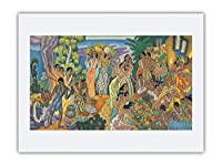 島の饗宴 - 古代ハワイの饗宴 - マトソンメニュー - ビンテージな遠洋定期船のメニューの表紙 によって作成された ユージェーヌ・サヴェッジ c.1940s - アートポスター - 46cm x 61cm