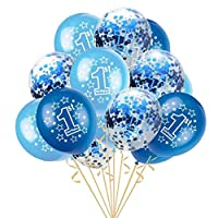 perfk 紙吹雪風船 番号バルーン 1歳 誕生日パーティー 可愛い リボンロール バルーン 誕生日 装飾 写真小物 4色選べ - 青