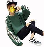 BeiBang(バイバン)レディース フード パーカー ゆったり トレーナー 韓国風 ファッション ストリート スウェット トップス 春 秋(24グリーン)