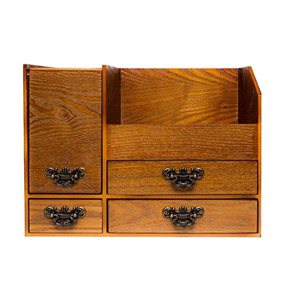 誘う南方の人化粧品収納ボックス大容量デスクトップ木製レトロホームドレッシングテーブルスキンケア棚 (Color : YELLOW, Size : 33*18.9*24.3CM)