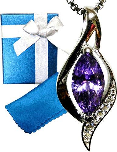 [해외]라 벨 플루 2 월 탄생석 자수정 925 실버 CZ 다이아몬드 목걸이 여성 K18 핑크 골드/La Belle Fleur February birthstone amethyst silver 925 CZ diamond necklace ladies K18 pink gold
