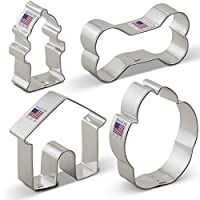 Dog Cookie Cutter Set - 4 Piece - Dog Bone, Paw Print, Fire Hydrant, and Dog House - Ann Clark Cookie Cutters - US Tin Plated Steel