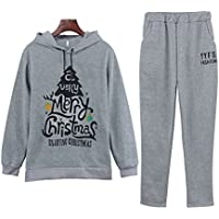 Christmas Tree Printed Two Piece Women's Sweatshirts Hoodies Suits, Cloth (Color : Gray, Size : M)