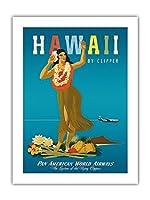 ハワイ州クリッパー - ハワイアンフラガール - パンアメリカン航空 - ビンテージなハワイの旅行のポスター によって作成された ジョン・アサートン c.1950s - アートポスター - 46cm x 61cm