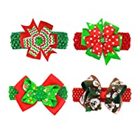 Minkissy 4ピースクリスマス蝶結びヘアピン頭飾り弓ヘッドバンドヘアバンド