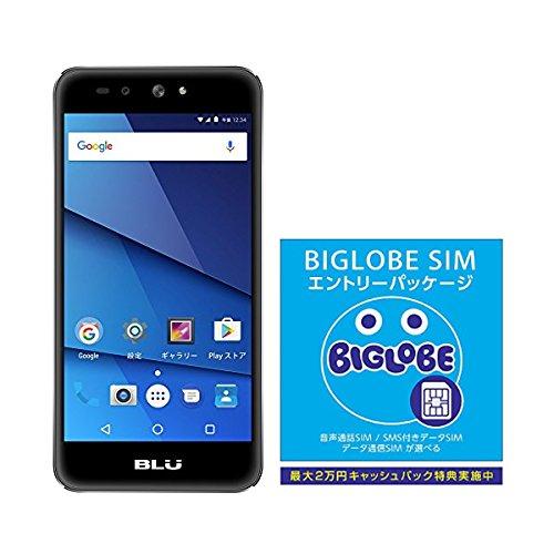 BLU(ブルー)GRAND X LTE SIMフリースマートフォン ブラック 専用ケース付 日本正規代理店品 G0010JJ/BLA-38BIGLOBE SIM エントリーパッケージ ドコモ対応SIMカード データ通信/音声通話 (ナノ/マイクロ/標準SIM)[iPhone/Android] 最大 20,000円キャッシュバック EP-1