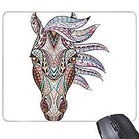 モザイクスタイルカラフルな馬デザインクリエイティブアートイラストパターン長方形滑り止めラバーマウスパッドゲームマウスパッドギフト