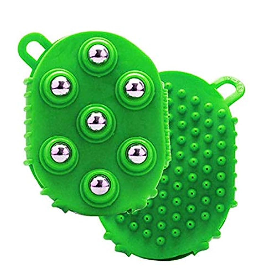 7つの回転金属ボール付きマッサージグローブ、ボディマッサージグローブフルボディマッサージャー,グリーン