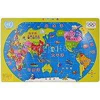 Early Learning地理35ピース木製ジグソーワールドマップパズルゲームセット