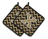Caroline 's Treasures文字X Chevronブラック&ゴールドのペアポットホルダーcj1050-xpthd、7.5hx7.5W、マルチカラー