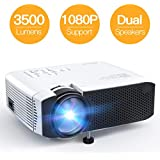 Projector APEMAN Video Mini Portable Projector 3500 Lumen with Dual Built-in Speakers 45000 Hours LED Life Support HD 1080P HDMI/VGA/TF Card/AV/USB/PS4/Android/ios for Home Theater Entertainment