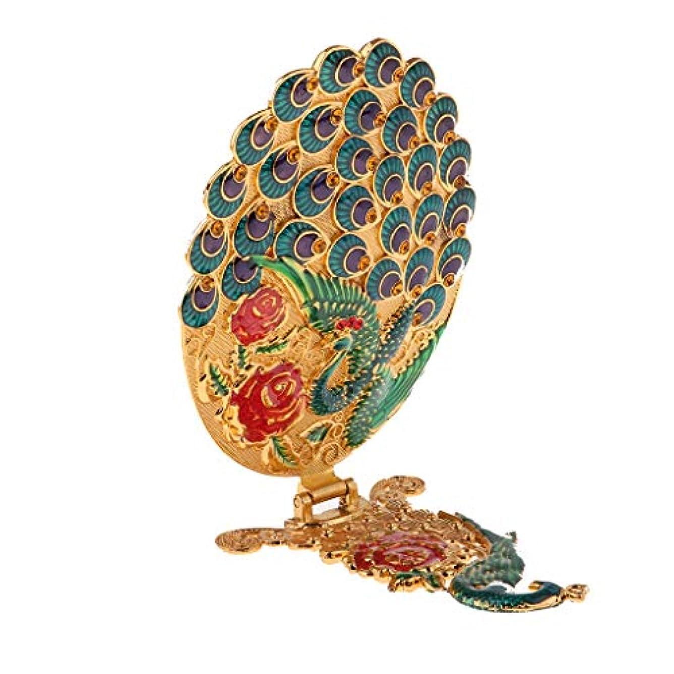 縁戻るロースト折りたたみミラー 卓上鏡 孔雀の形 フェイスケアツール ビンテージロイヤル柄 化粧品ツール 全3色 - 青