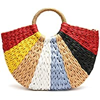 Summer Beach Retro Chic Woven Straw Bags for Women Straw Tote Bag Classic Handbags Top Handle Bag