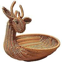 shopparadise 鹿型収納バスケット パン?お菓子?果物?小物収納かご フルーツボウル PP素材 造籐編み 利便性最高 大容量 31×24×28cm