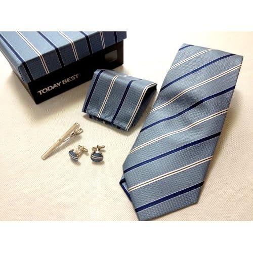 定番のブルー 豪華4点セット (ネクタイ・ネクタイピン・カフリンクス・ポケットチーフ) メンズ スーツ ケース付き TS-3