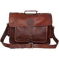 Madosh, Genuine Brown Leather Business Laptop Office Briefcase Shoulder Bag