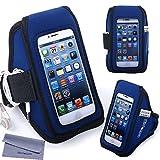 スマホアームバンド iPhone SE/5/5s/5c、iPod Touch 5/6対応 Wisdompro ランニング・ジョギング・スポーツ用 ヘッドフォンホルダー/キーポケット付き ブルー+ブラック