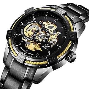 腕時計, メンズ腕時計 機械式 ブラックスケルトンメカニカルファッションビジネス自動パンクスタイルとステンレスバンド腕時計