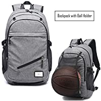 Business Backpack for Boys or Men, Laptop Backpack with USB Charging Ports, Canvas Waterproof Backpack for Sports, Grey Backpack with Ball Net Holder for Students at College or High School