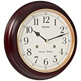 """Seiko 12"""" Round Wood Grain Finish Wall Clock with Dual Quarter Hour Chimes"""
