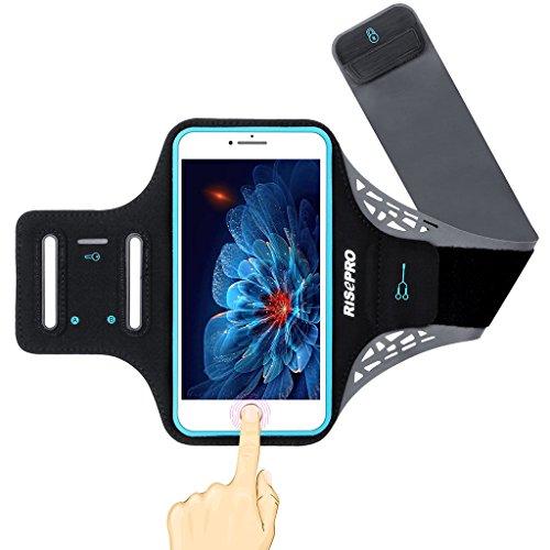 iPhone 7 plus アームバンド RISEPRO ランニングアームバンド 指紋ロック解除可能 5.5インチ大画面スマホに最適 キーホルダー/ミニ収納ポケット付 ブラック