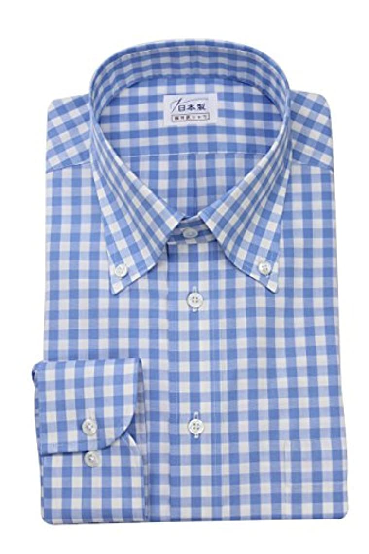 識別するハンカチ描写ワイシャツ メンズ長袖(ドレスシャツ)ボタンダウン ギンガムチェック 軽井沢シャツ [A10KZB368]