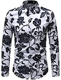 Keaac メンズファッションの基本的なシャツ長袖ボタンダウンシャツ花花