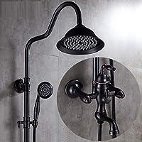 シャワーシステム、ブラックアンティーク銅製調節可能なスライドバー、レインシャワー、ハンドヘルド - 壁掛け - あなたの家にスパを連れて,F