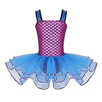 (イーエフイー)EFE バレエレオタード 子供 女の子 袖無し ドレス 人魚姫 コスプレ コスチューム リトルマーメイド アリエル風 レオタード スカート付き ブルー 3