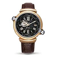 Time100  受賞人気男性腕時計 ローマ字 自動巻き ワールドタイム スケルトン 本革 メンズ腕時計 紳士#W60129G (コーヒー)