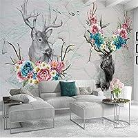 Bzbhart ヨーロッパエルクの花蝶背景壁画カスタム大壁画緑の壁紙-200cmx140cm