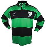 アイルランドラグビーシャツメンズの、緑とブルーwith Shamrock Crest、アイルランドファンシャツ