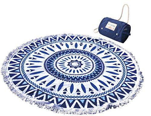 RoomClip商品情報 - 丸眞 ラウンドビーチタオル ブルーシャワー 直径約140cm 綿100% 収納バッグ付き 0135012300
