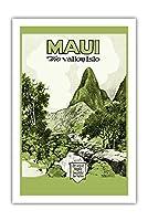 マウイ島、ハワイ - バレー島 - Iao 谷 - ビンテージなハワイの旅行パンフレット c.1929 - プレミアム290gsmジークレーアートプリント - 61cm x 91cm