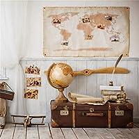 csfoto 4x 4ft背景の地理学者'部屋研究と調査Globe写真バックドロップワールドマップ図面古いスーツケースWooden Floor Photo Studioプロップビニール壁紙