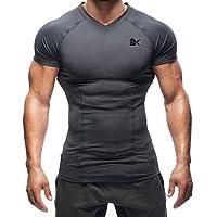 EK-BROKIG Mens Muscle Compression Shirt, Dry Fit Base Layer Gym Workout Shirts Short Sleeve Tops