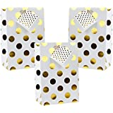 LaRibbons - 12 Pack - 130 x 80 x 200 mm - Small Size Gold Polka Dot Gift Bags for Wedding, Favors and Baby Showers …