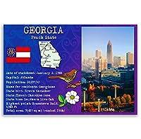 ジョージア州Factsポストカードのセット20identicalはがき。Post Cards with GA事実と状態シンボル。Made In USA。