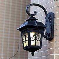 壁面ライト 屋外の防水壁ランプヨーロッパのヴィラレトロガーデン通路の中庭屋外LEDの廊下バルコニーの壁ライトE27 (色 : ブラック)