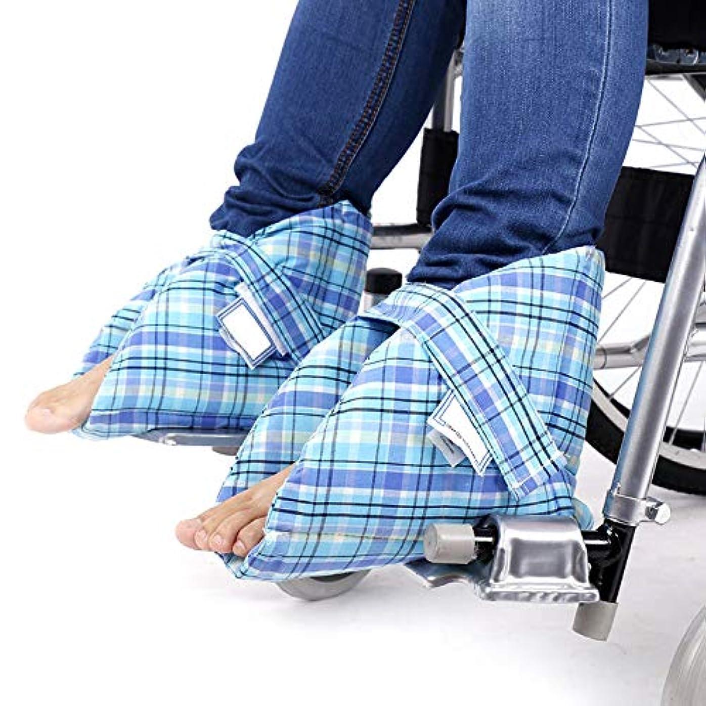 悪化させるセンター誓約フットサポートピロー-ヒールクッション褥瘡、かかと潰瘍および腫れた足の痛みの軽減-1ペアのかかと保護足枕
