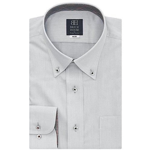 BRICK HOUSE 長袖 ワイシャツ 形態安定 ボタンダウン グレー×織柄 BXLB24517F-30 クロ・グレー M-80