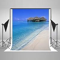 Kate 5x7ft(1.5mx2.2m) 家族の写真スタジオの背景に茶色の海の家の背景にブルーの海のビーチの写真撮影の背景 NS200318