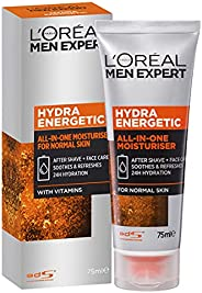 L'Oréal Paris Men Expert Hydra Energetic All in One Moisturiser, Aftershave and Face Cream, for Dry and Ti