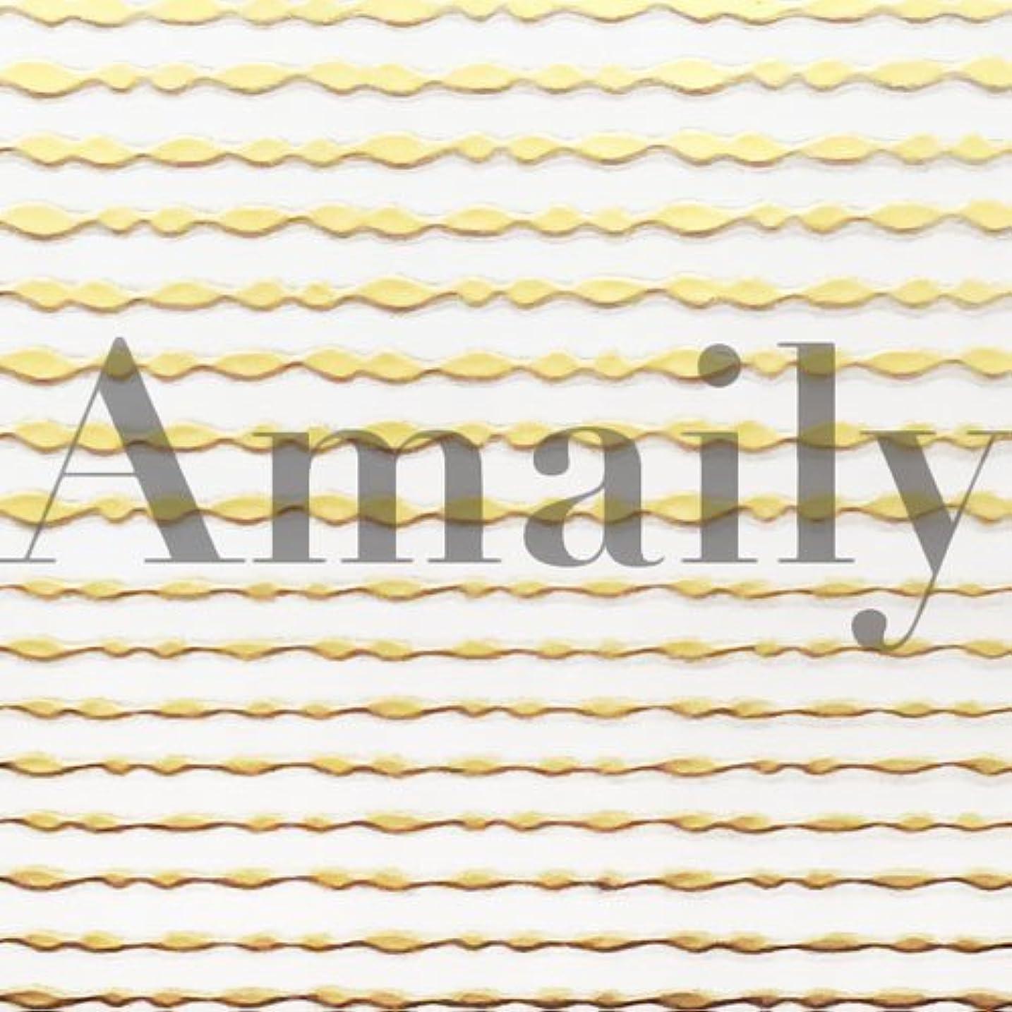 Amaily(アメイリー)波ライン ゴールド【ネイルアート、ネイルシール、ネイル パーツ】