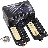 Yibuy 1 Set of 2 ブラック+クリーム ハムバッカー ダブルコイルエレキギター ピックアップ